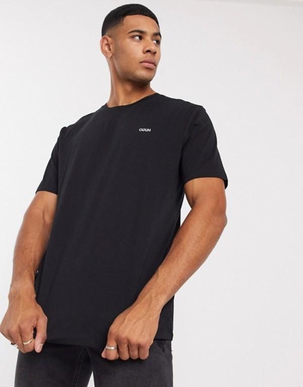 フューゴ メンズ シャツ トップス HUGO Dero203 contrast logo t-shirt in black Black