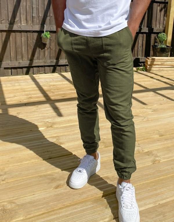 トップマン メンズ カジュアルパンツ ボトムス Topman flannel sweatpants in khaki Khaki
