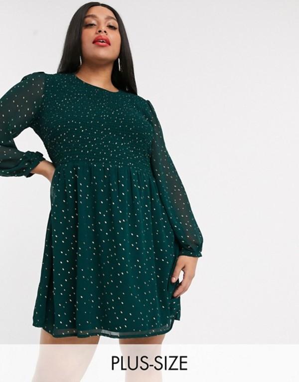 シンプリー ビー レディース ワンピース トップス Simply Be chiffon skater dress with gold polka dot in dark green Green