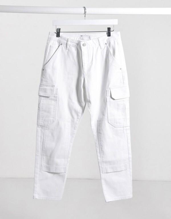 エイソス メンズ デニムパンツ ボトムス ASOS DESIGN rigid slim jeans in white with cargo pockets Off white