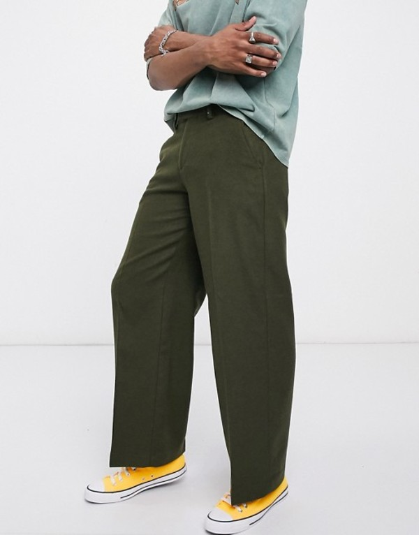 エイソス メンズ カジュアルパンツ ボトムス ASOS DESIGN extreme wide leg smart pants in khaki wool mix Olive