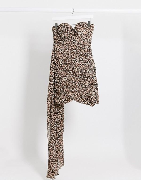 ラビッシュアリス レディース ワンピース トップス Lavish Alice bandeau drape mini dress in leopard print Multi