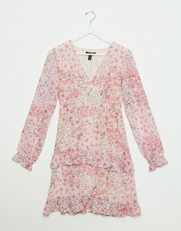 ニュールック レディース ワンピース トップス New Look chiffon tiered mini dress in pink ditsy floral print Pink pattern