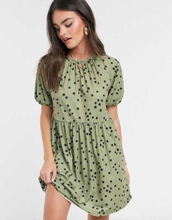 エイソス レディース ワンピース トップス ASOS DESIGN mini smock dress with gathered neck in khaki polka dot Khaki spot