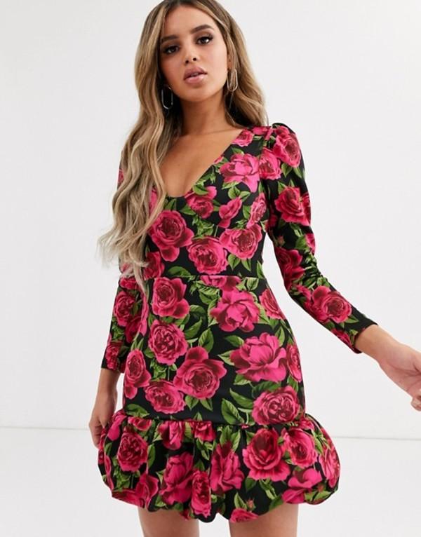 エイソス レディース ワンピース トップス ASOS DESIGN long sleeve floral bubble hem mini dress Multi