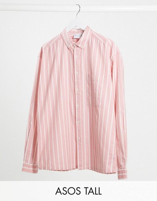 エイソス メンズ シャツ トップス ASOS DESIGN Tall 90s oversized shirt in pink oxford stripe Pink