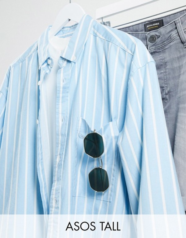 エイソス メンズ シャツ トップス ASOS DESIGN Tall 90s oversized shirt in blue oxford stripe Blue