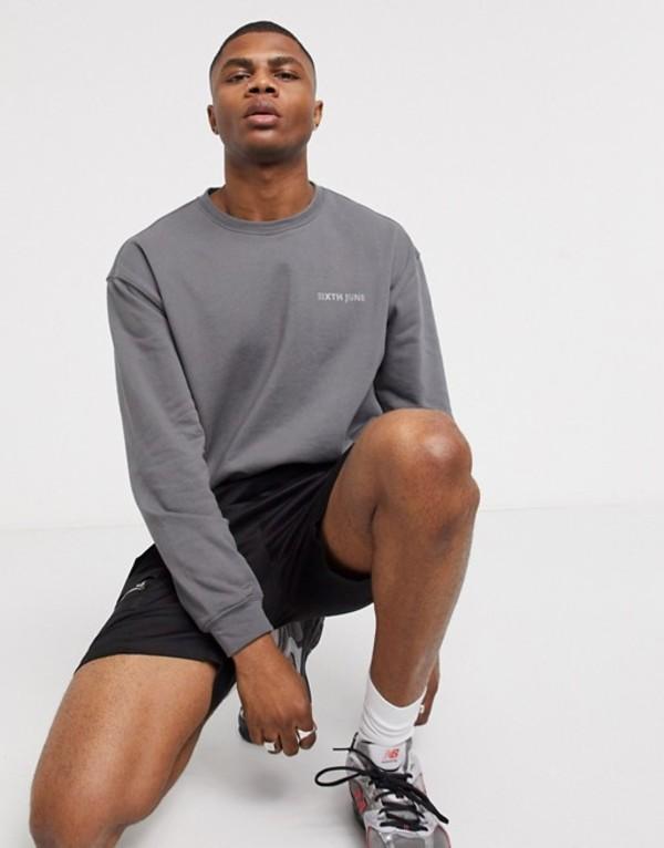 シックスジュン メンズ シャツ トップス Sixth June super soft sweatshirt with logo in gray Gray