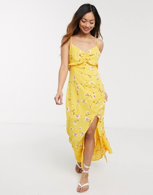 ジリ レディース ワンピース トップス Gilli wrap front maxi dress in bold floral Yellow