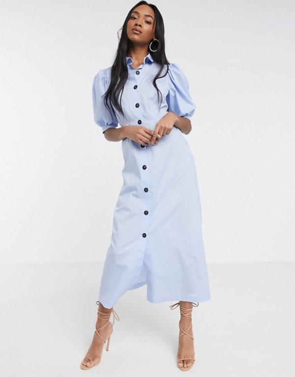 エイソス レディース ワンピース トップス ASOS DESIGN puff sleeve button through poplin maxi shirt dress in blue Blue
