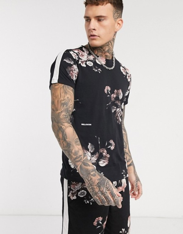 レリジョン メンズ シャツ トップス Religion all over floral print t-shirt with side stripe details in black Black