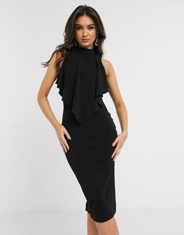 ガール イン マインド レディース ワンピース トップス Girl In Mind high neck frill top midi dress in black Black