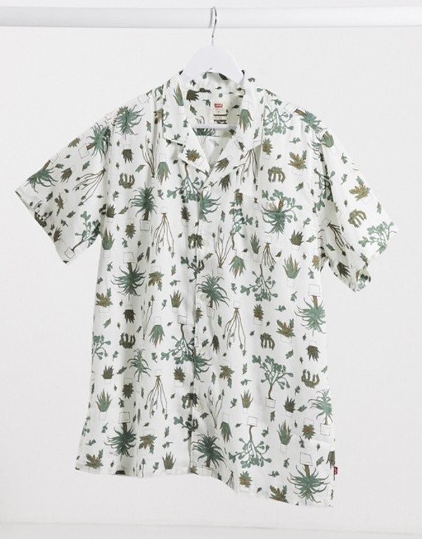 リーバイス メンズ シャツ トップス Levi's Cubano short sleeve revere collar cactus print shirt in white White