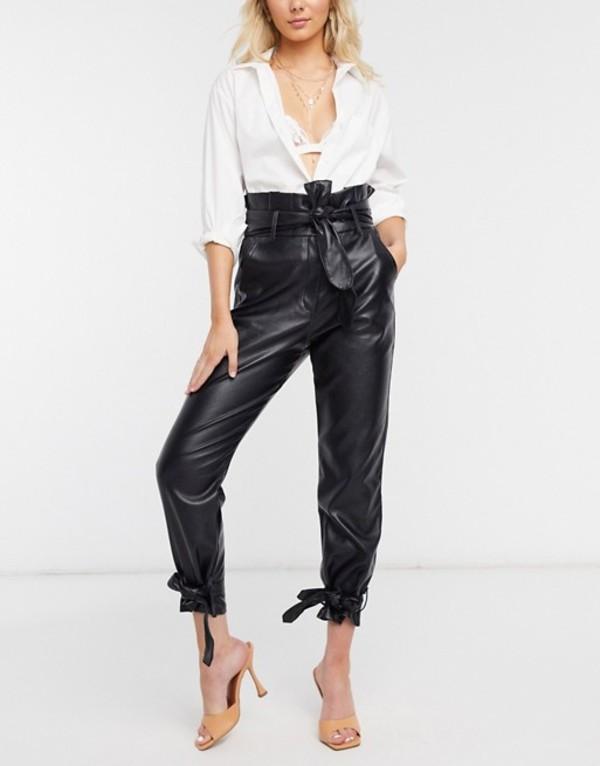 シグネチャーエイト レディース カジュアルパンツ ボトムス Signature 8 faux leather paperbag waist pants in black Black