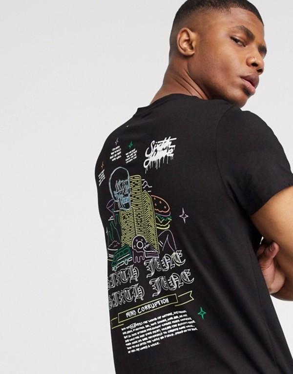 シックスジュン メンズ シャツ トップス Sixth June t-shirt with back sin print in black Black