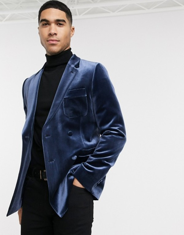 エイソス メンズ ジャケット・ブルゾン アウター ASOS DESIGN skinny velvet double breasted tuxedo blazer in navy Navy