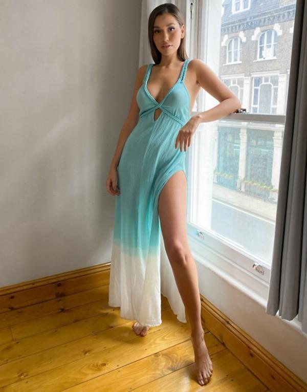 エイソス レディース ワンピース トップス ASOS DESIGN fuller bust braid maxi beach dress in textured teal ombre Teal ombre
