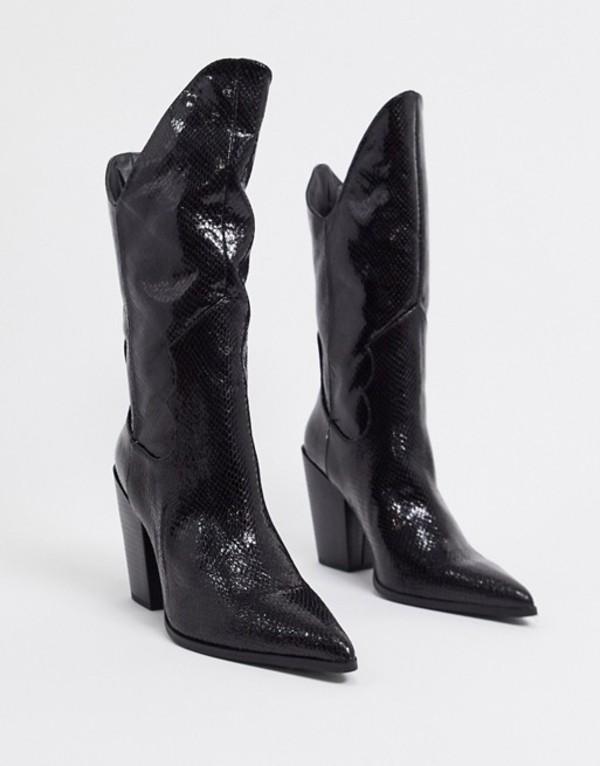 パブリックデザイア レディース ブーツ・レインブーツ シューズ Public Desire Dynasty western knee boots in black Black