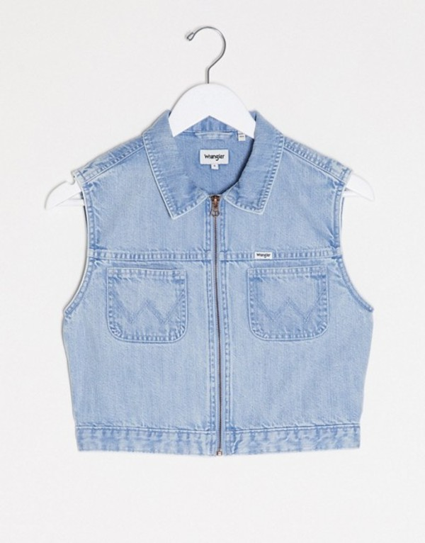 ラングラー レディース シャツ トップス Wrangler western cropped denim sleeveless shirt in lightwash blue Sun fade
