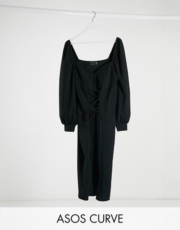 エイソス レディース ワンピース トップス ASOS DESIGN Curve mini dress with cup seam and lace up front in black Black