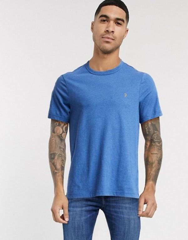 ファーラー メンズ シャツ トップス Farah Dennis logo t-shirt in blue marl Blue grape marl