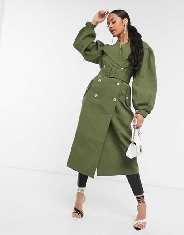 ユニークトゥエンティワン レディース コート アウター Unique21 full sleeve trench coat in khaki Khaki