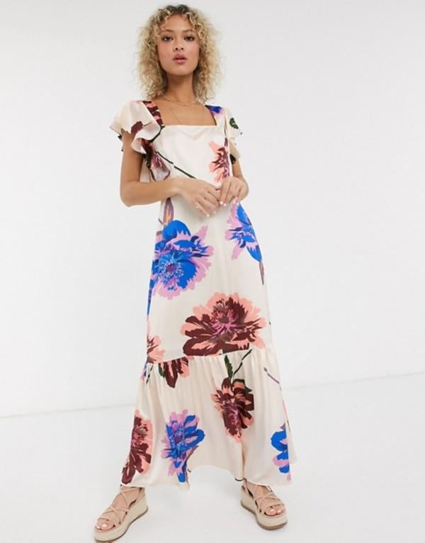 リクオリッシュ レディース ワンピース トップス Liquorish square neck ruffle shoulder smock maxi dress in oversized bloom Ivory based floral