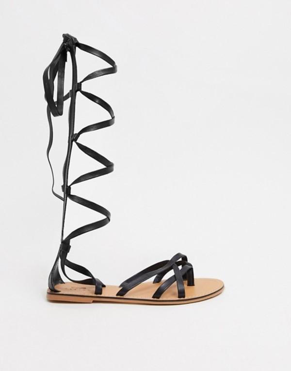 エイソス レディース サンダル シューズ ASOS DESIGN Firebox leather knee high gladiator sandals in black Black