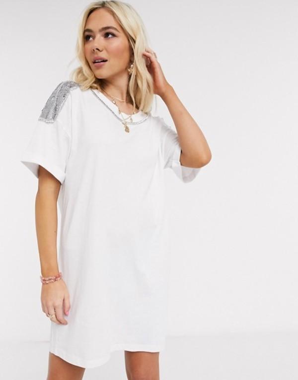 エイソス レディース ワンピース トップス ASOS DESIGN t-shirt dress with embellished trim in white White