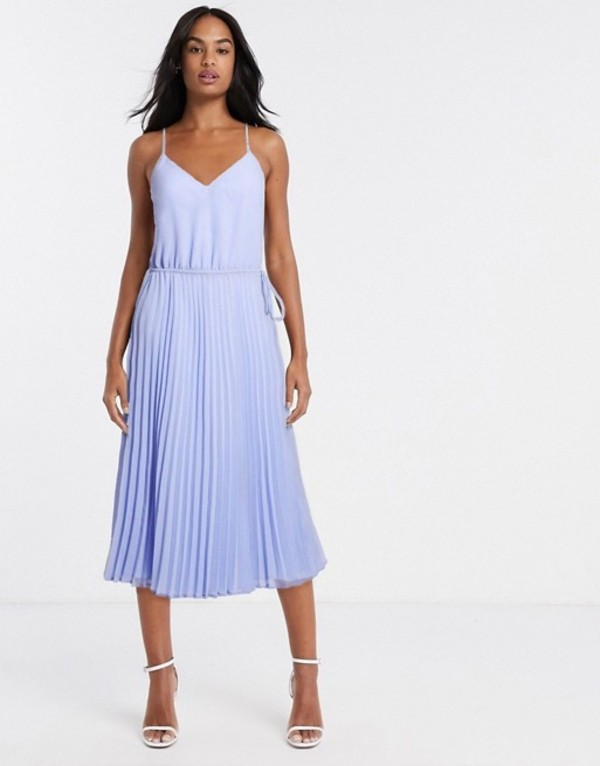 エイソス レディース ワンピース トップス ASOS DESIGN pleated cami midi dress with drawstring waist in cornflower blue Cornflower blue