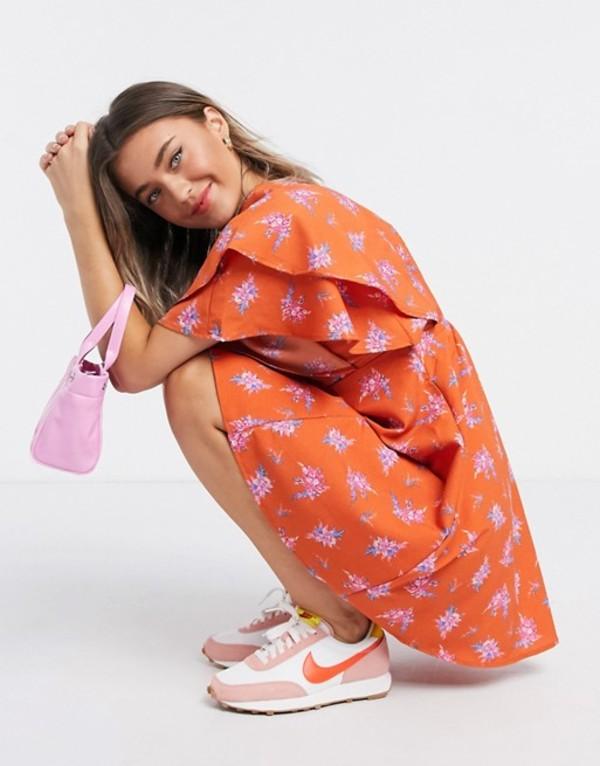 エイソス レディース ワンピース トップス ASOS DESIGN mini dress with frill sleeves in bright floral print Bright floral print