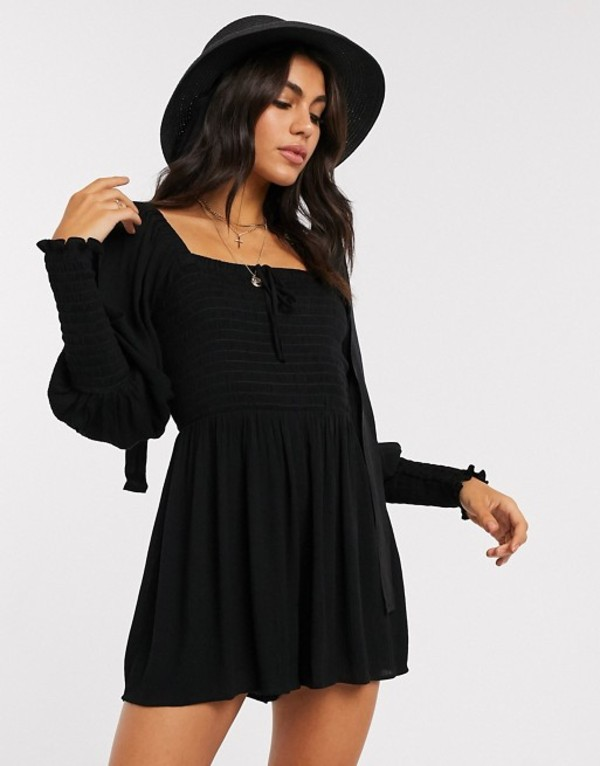 エイソス レディース ワンピース トップス ASOS DESIGN romper with shirred bodice and sleeves in black Black