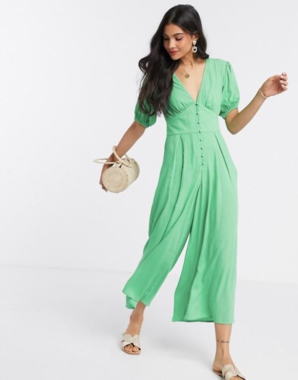 エイソス レディース ワンピース トップス ASOS DESIGN crinkle tea jumpsuit with puff sleeve in green Bright green