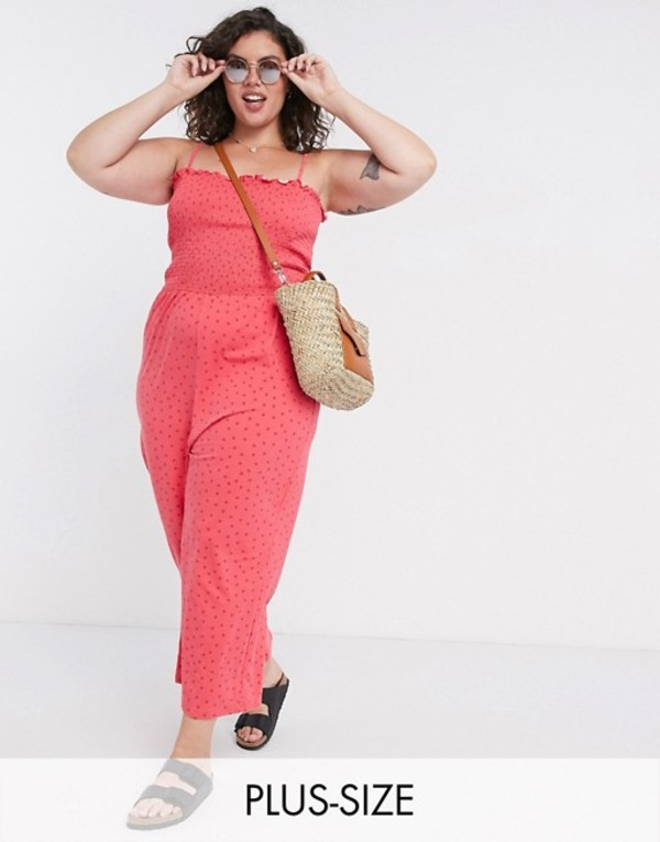 グラマラス レディース ワンピース トップス Glamorous Curve wide leg jumpsuit with shirred bodice in ditsy strawberry Pink strawberry