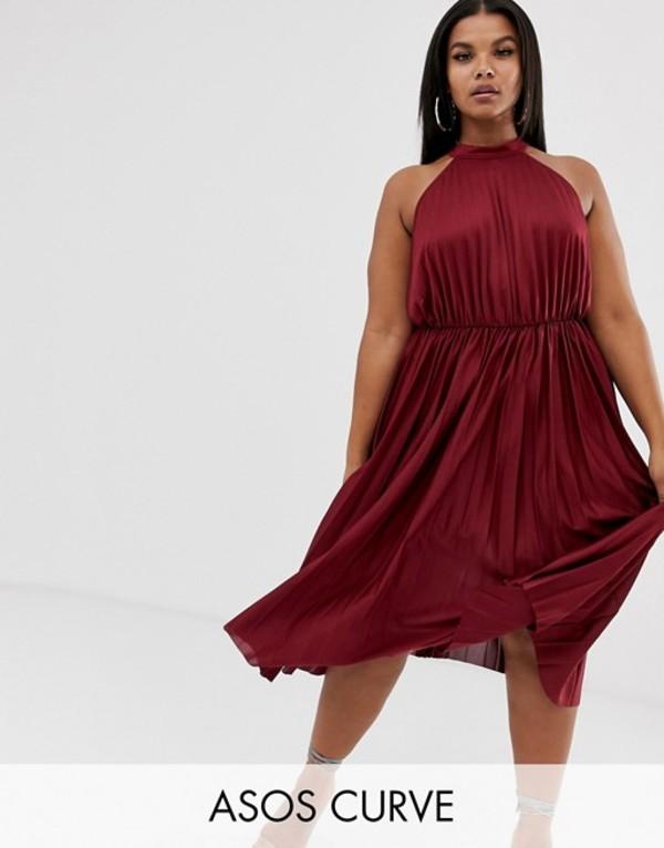 エイソス レディース ワンピース トップス ASOS DESIGN Curve high neck pleated midi dress Berry