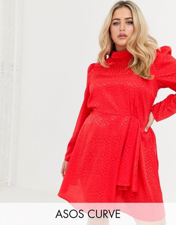 エイソス レディース ワンピース トップス ASOS DESIGN Curve high neck jacquard mini dress in red Red
