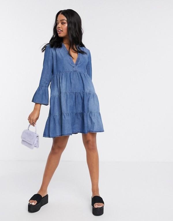 ジェイディーワイ レディース ワンピース トップス JDY denim smock dress in blue Blue