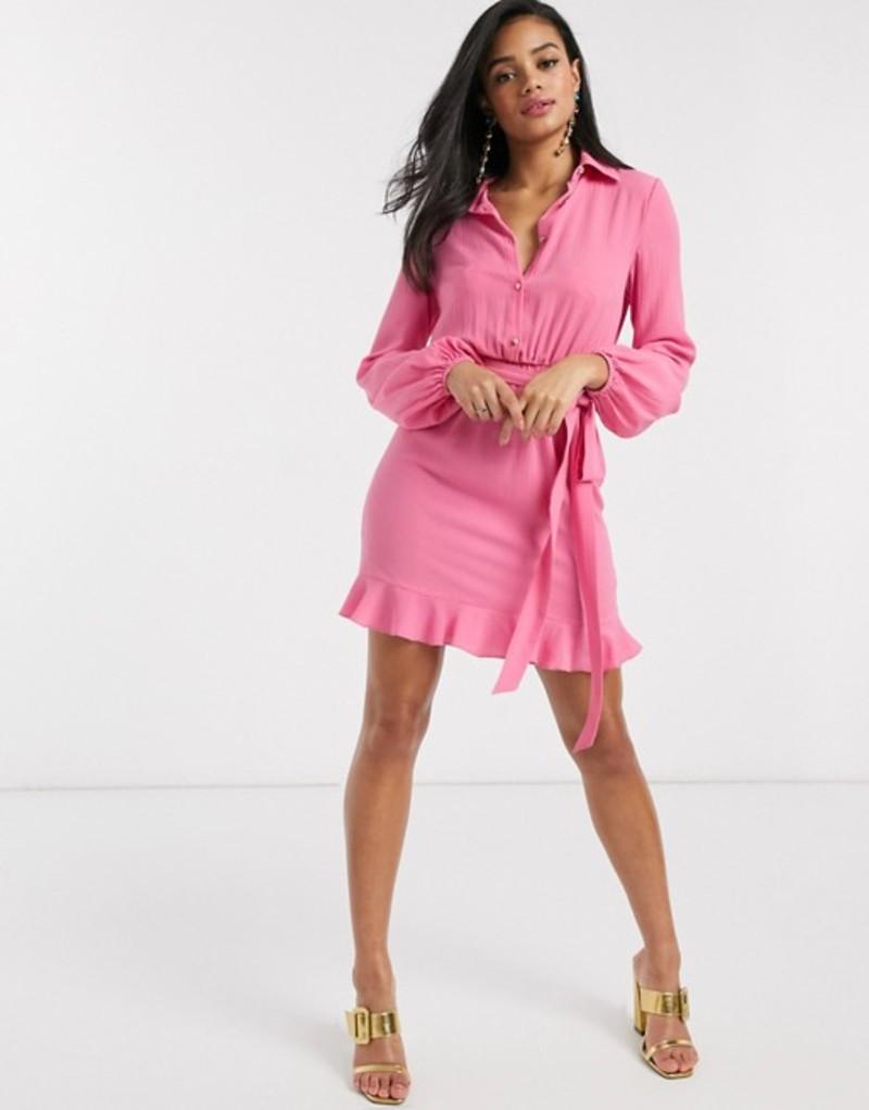 アウトレイジャスフォーチュン レディース ワンピース トップス Outrageous Fortune shirt dress with frilly hem in pink Pink