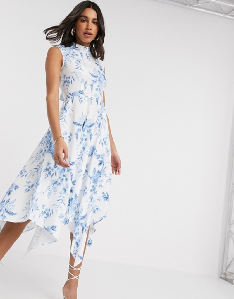 クローゼットロンドン レディース ワンピース トップス Closet London high neck midi dress in floral print White / blue