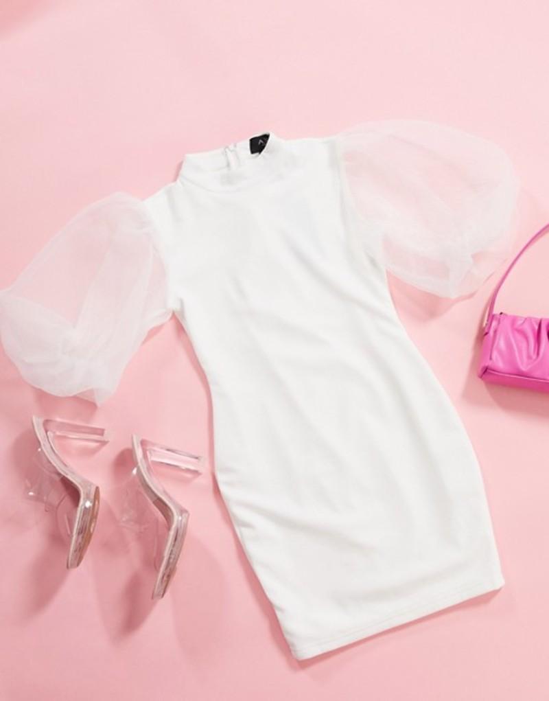 アックスパリ レディース ワンピース トップス AX Paris organza puff sleeve mini dress in white White