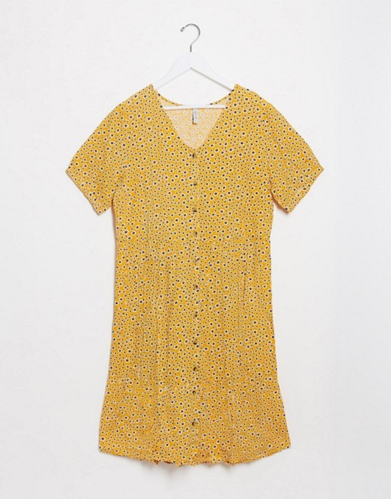 ブレンドシー レディース ワンピース トップス Blend She button down smock dress in yellow floral Golden glow