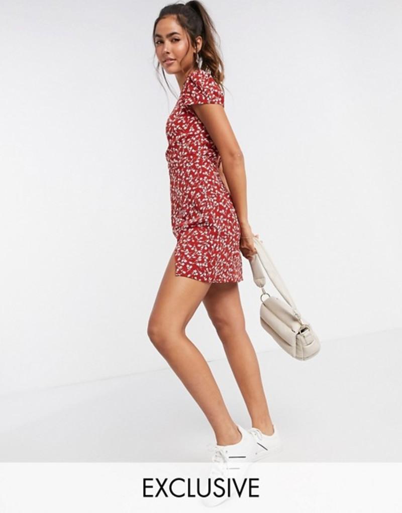 ファッションモンキー レディース ワンピース トップス Fashion Union mini dress in tonal floral print with thigh split Tulip red floral
