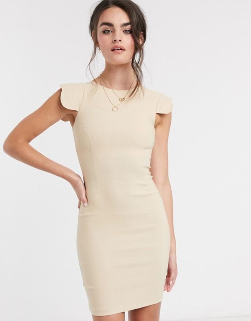 ベスパー レディース ワンピース トップス Vesper Poppy scalloped sleeve mini dress taupe Taupe