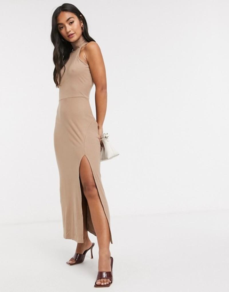 ファッションモンキー レディース ワンピース トップス Fashion Union sleeveless midi dress with roll neck and split Brown