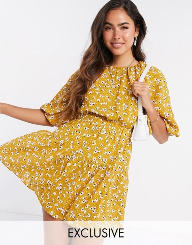ファッションモンキー レディース ワンピース トップス Fashion Union mini puff sleeve dress in yellow spot floral Yellow floral