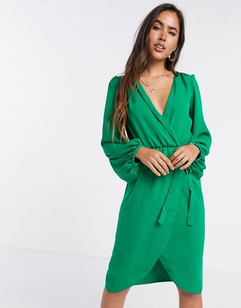 リクオリッシュ レディース ワンピース トップス Liquorish bell wrap sleeve in green Green