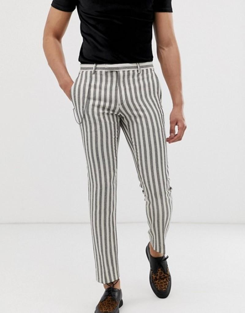 ツイステッド テイラー メンズ カジュアルパンツ ボトムス Twisted Tailor super skinny pants with textured stripe Cream