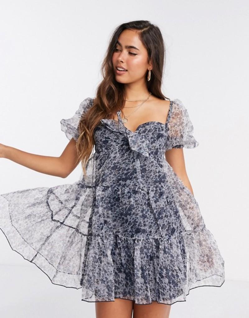 ファッションモンキー レディース ワンピース トップス Fashion Union mini smock dress in floral organza Blue floral