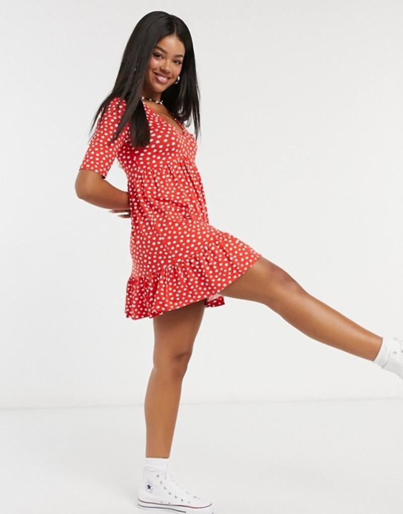 ミスセルフフリッジ レディース ワンピース トップス Miss Selfridge v-neck mini dress in red spot Red