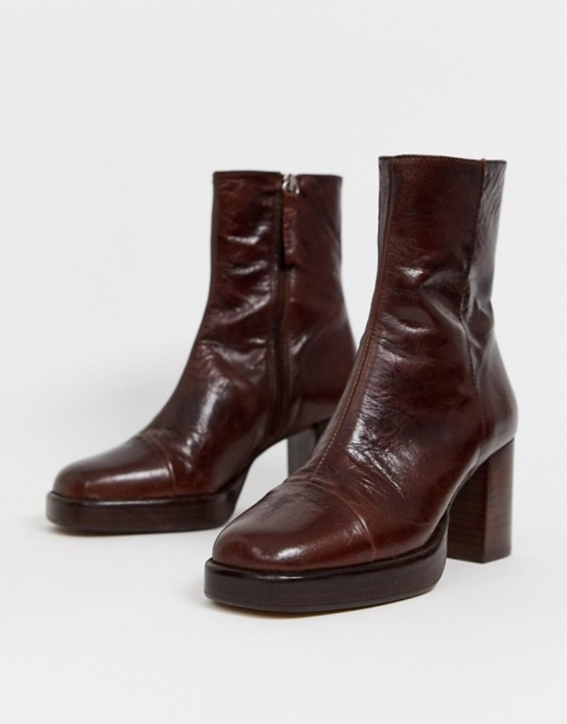 エイソス レディース ブーツ・レインブーツ シューズ ASOS DESIGN Reunion premium leather platform boots in brown Brown leather